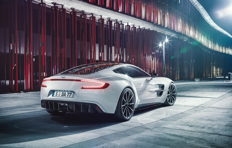 Photo wallpaper Aston Martin, White, Supercar, Wheels, Rear, Ligth, ONE-77