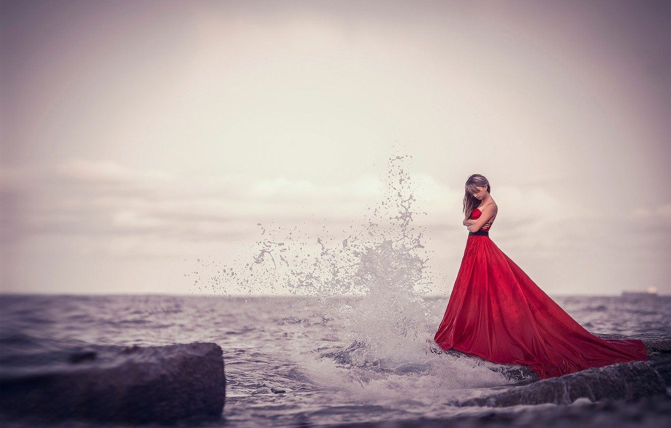 Photo wallpaper squirt, wave, surf, red dress, Girl at the sea