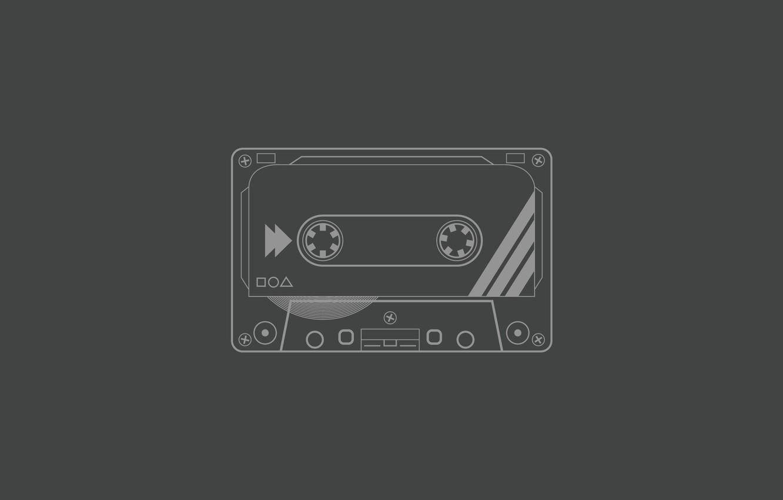 Photo wallpaper grey, background, cassette