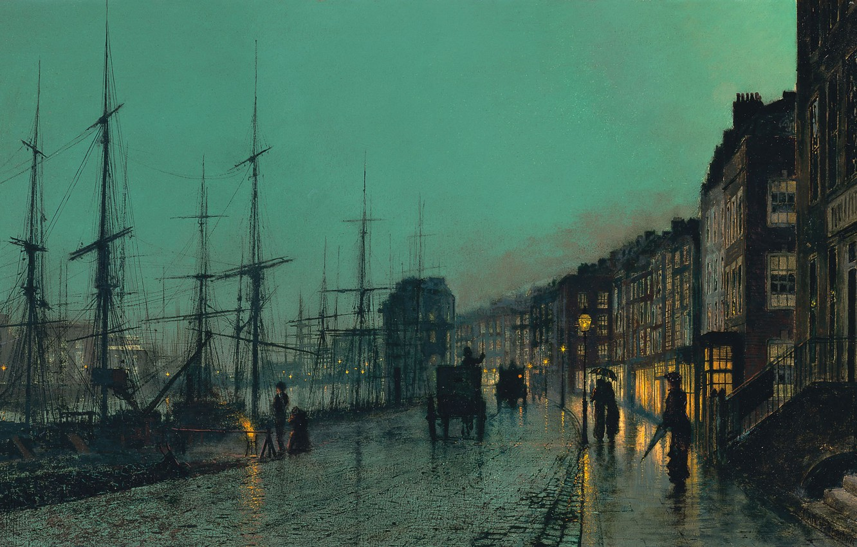 Photo wallpaper night, the city, street, Marina, home, ships, picture, port, coach, bridge, mast, John Atkinson Grimshaw