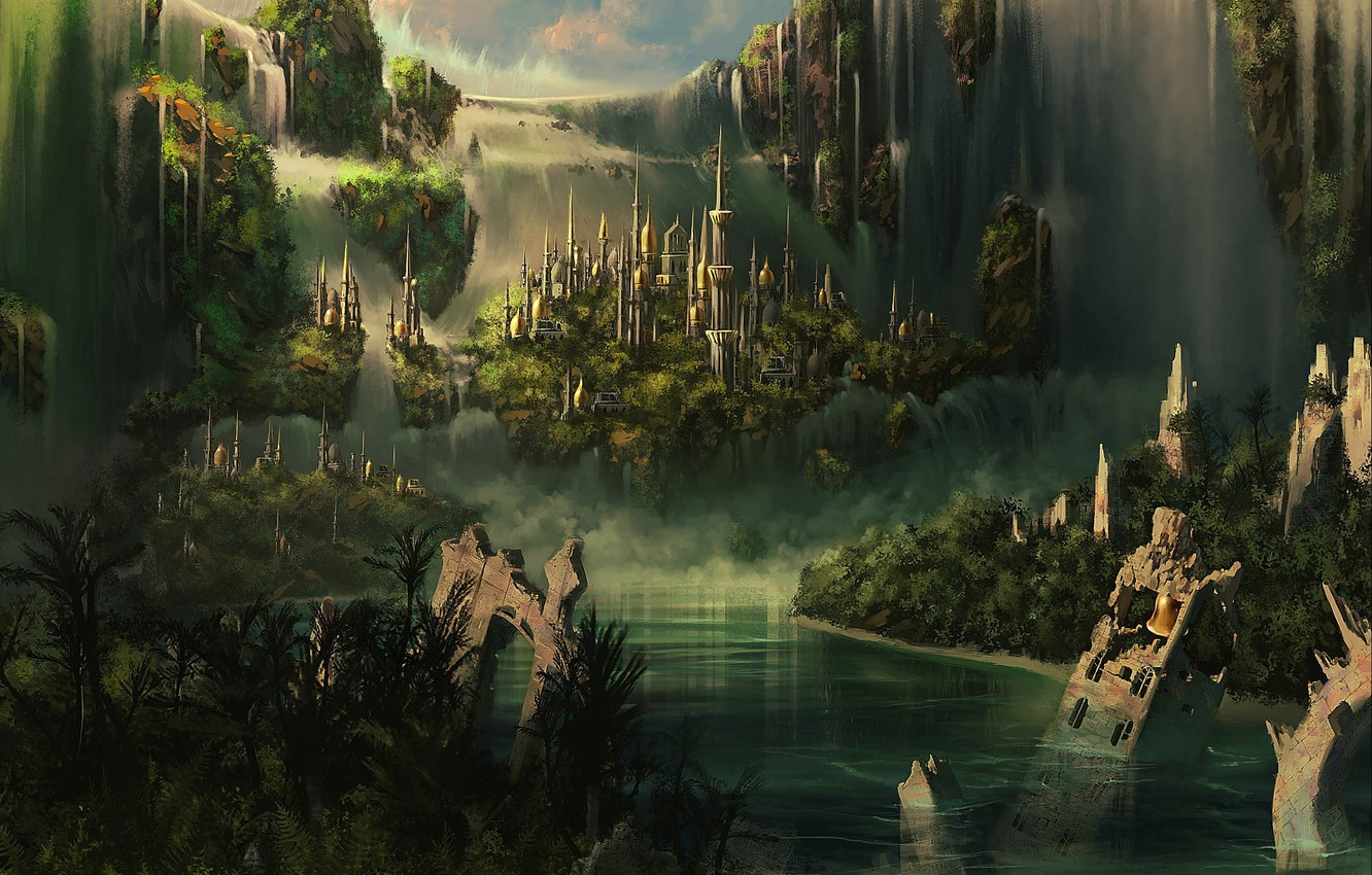 Photo wallpaper clouds, mountains, the city, castle, Atlantis, waterfall, tower, ruins, waterfalls, spires, CG wallpapers, Elven castle