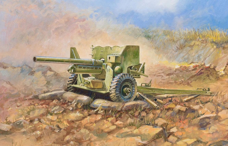 Photo wallpaper Tiger, art, gun, USSR, tanks, weapons, high, British, 400, WW2., shells, set, was, 1942, heavy, …