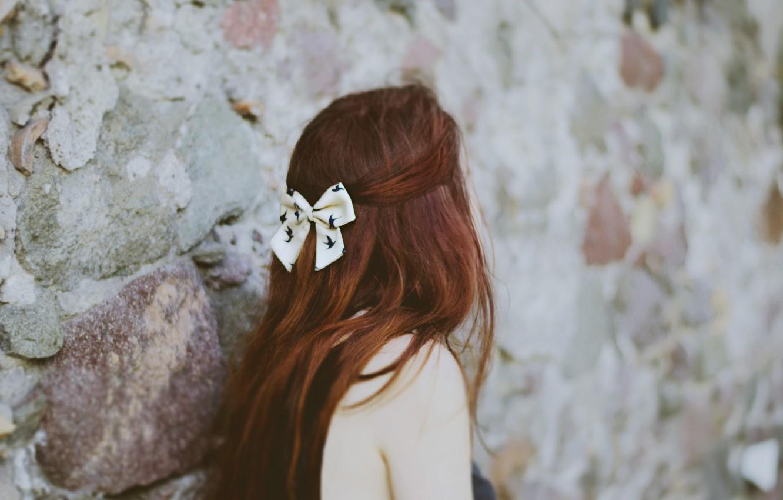 Photo wallpaper girl, red, bow, barrette