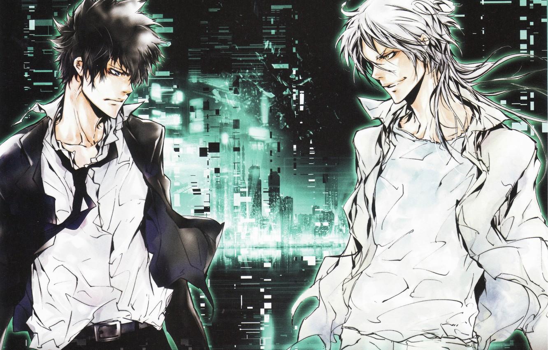 Photo wallpaper night, skyscrapers, white hair, grin, two guys, white shirt, eye to eye, Psycho-pass, Shinya Kougami, …