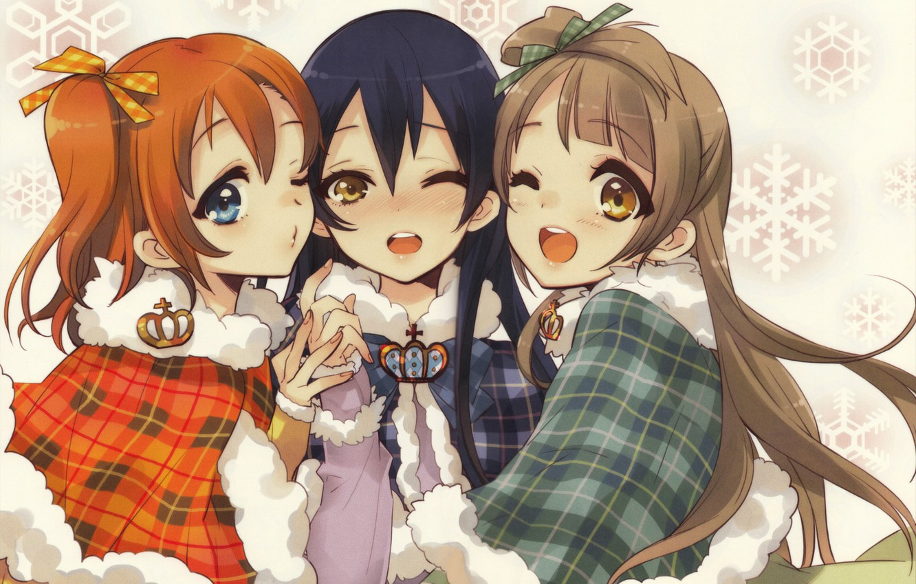 Photo wallpaper snowflakes, crown, fur, three, friend, wink, love live!, honoka, kotori, umi, balerinki, three girlfriends, by …