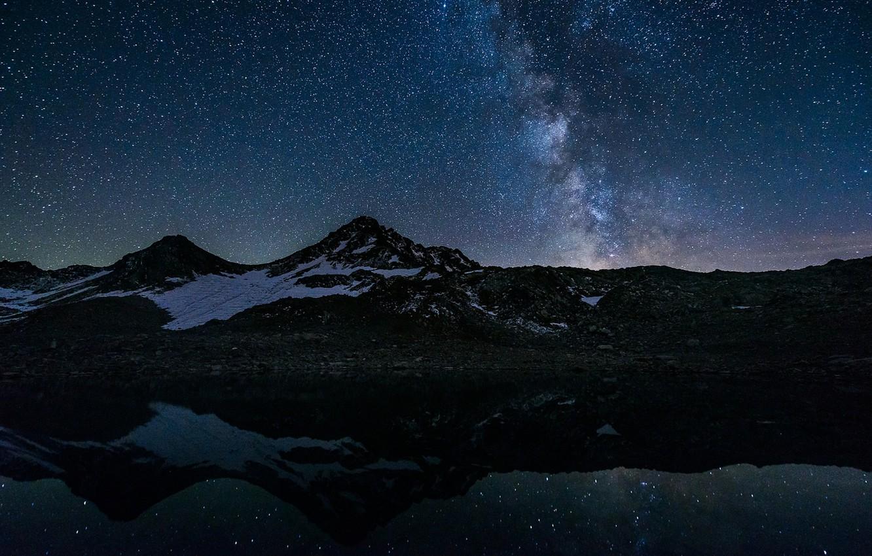 Photo wallpaper space, stars, mountains, lake, reflection, mirror, The Milky Way, secrets