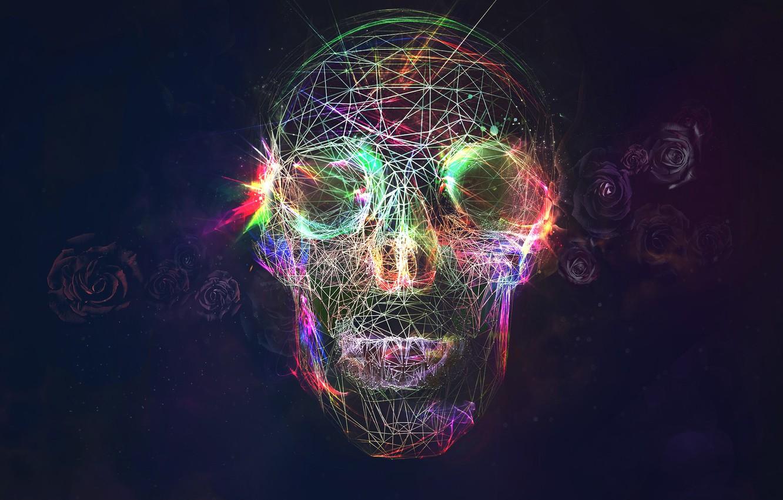 Wallpaper Skull Roses Glow Images For Desktop Section