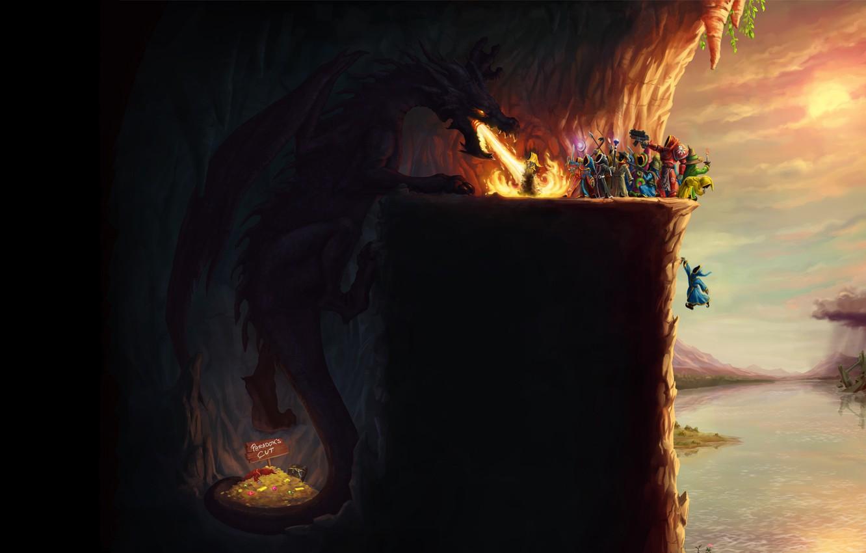 Photo wallpaper magic, dragon, the game, the crowd, humor, game, gold, treasures, career, mages, magicka, mage, turn, …