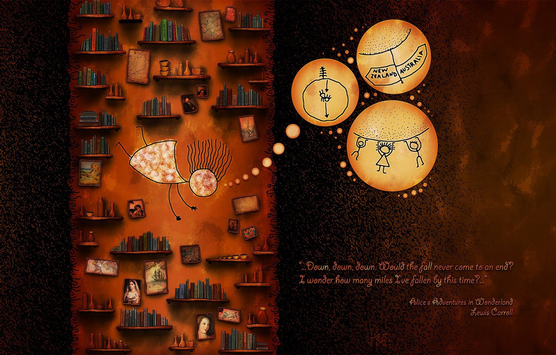 Photo wallpaper Vladstudio, Alice in Wonderland, Bookshelves, Lewis Carroll