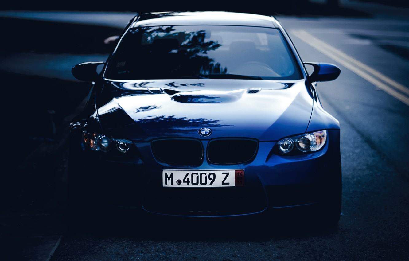 Photo wallpaper road, blue, bmw, BMW, twilight, the front