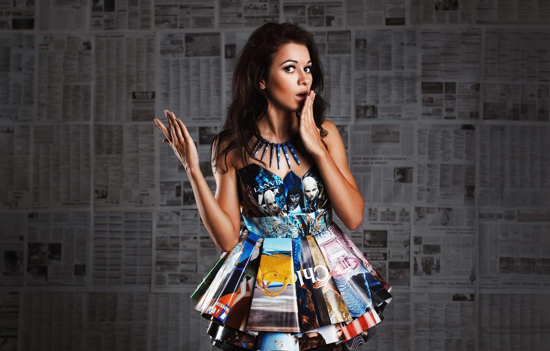 Photo wallpaper information, paper, Girl, dress, Newspapers, Studio, paper, Mar
