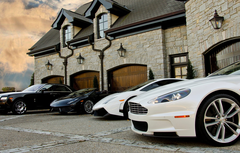 Photo wallpaper white, black, the building, Aston Martin, house, white, gallardo, Aston martin, lamborghini, black, ghost, Lamborghini, …