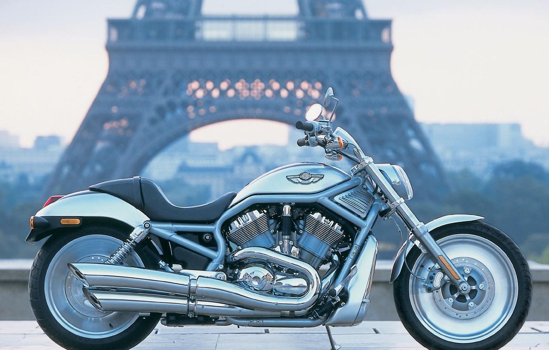 Photo wallpaper Paris, Motorcycle, Harley Davidson, Landscape