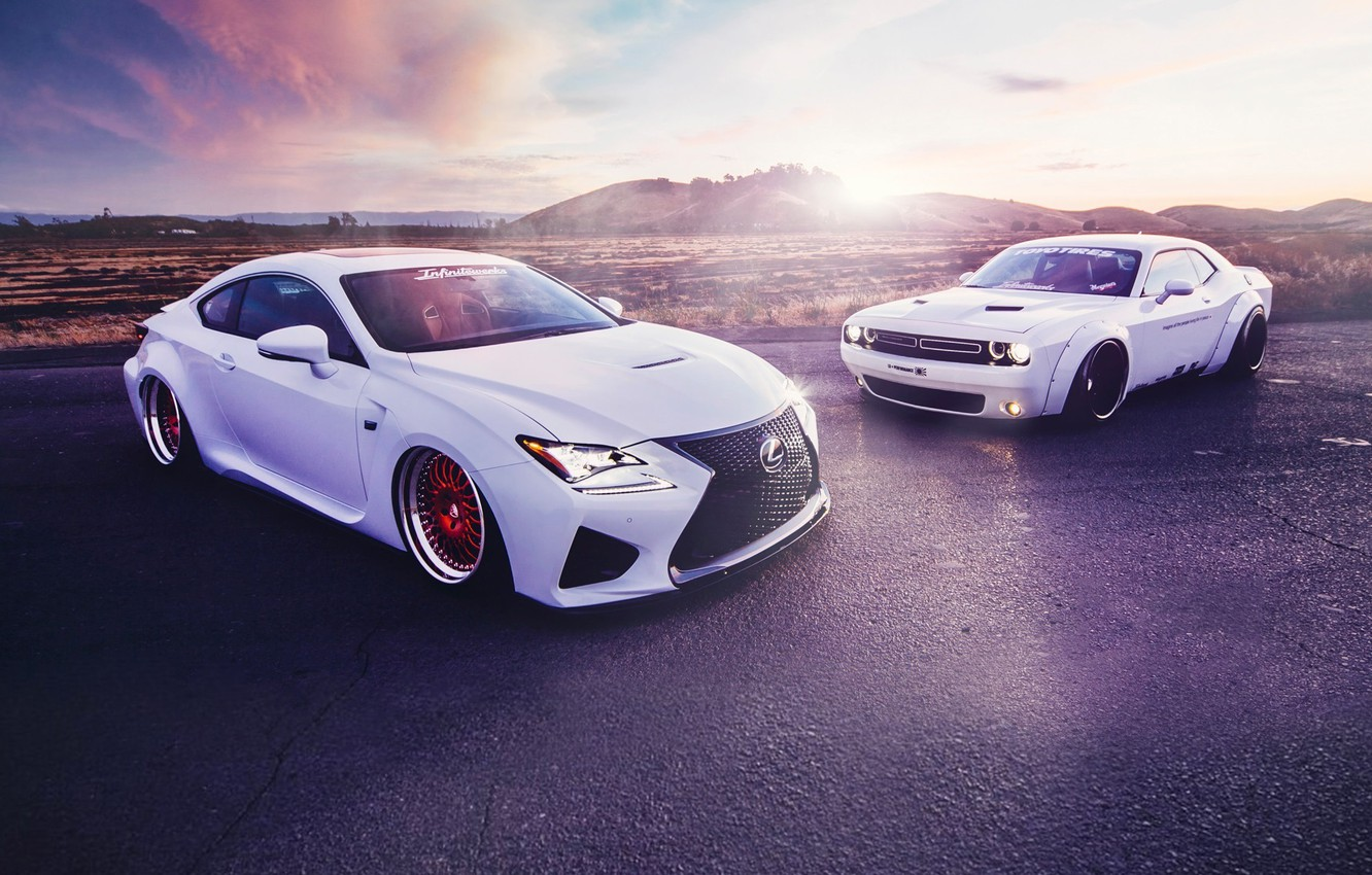 Photo wallpaper Lexus, Dodge, Challenger, Cars, Front, Sunset, White, Sport, Stance, Liberty, Walk, RC350