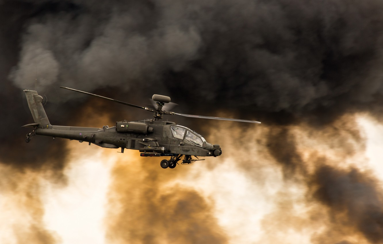 Photo wallpaper Helicopter, Apache, Aircraft