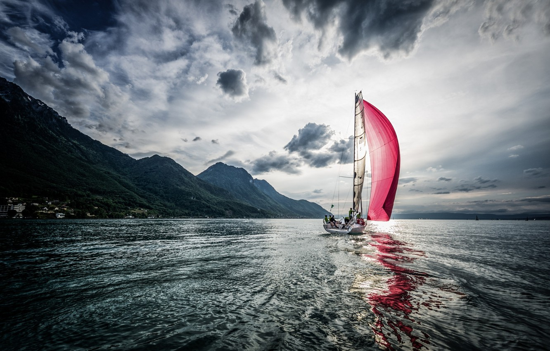 Photo wallpaper wave, sail, al