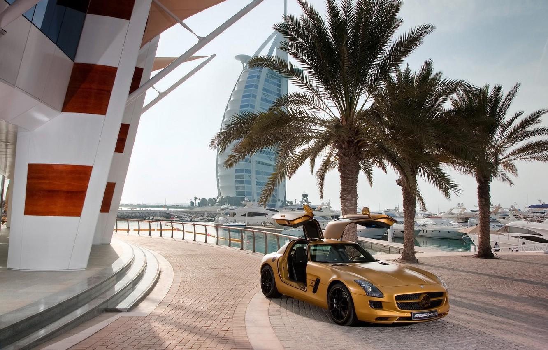 Photo wallpaper palm trees, heat, yachts, mercedes, benz, Dubai