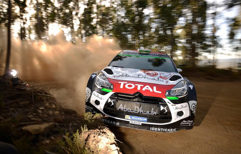 Photo wallpaper Dust, Forest, Citroen, DS3, WRC, Rally, Rally, Blur, 2015, Kris Meeke