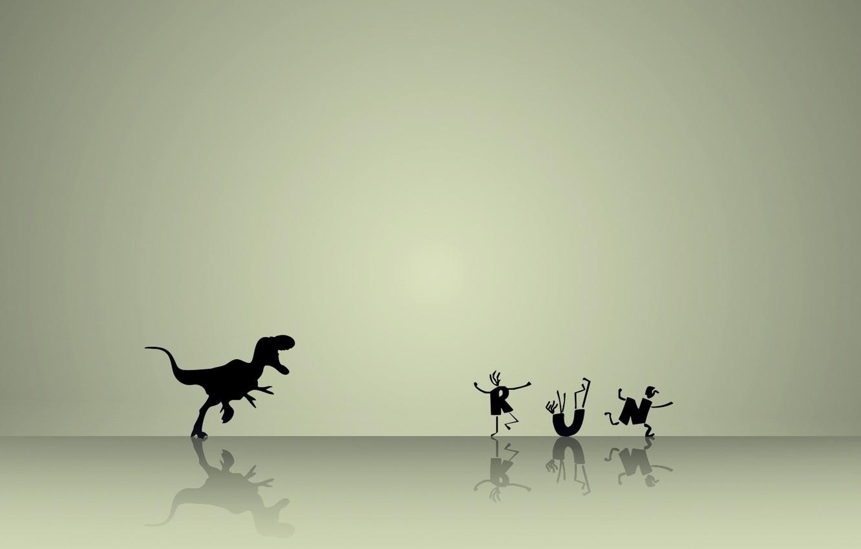 Photo wallpaper men, running, Dinosaur