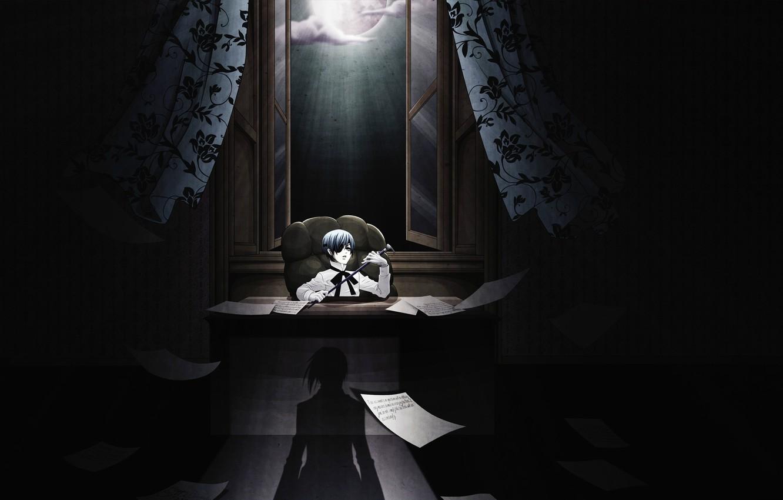 Photo wallpaper night, paper, shadow, chair, boy, window, cane, curtains, the full moon, office, order, Kuroshitsuji, Ciel …