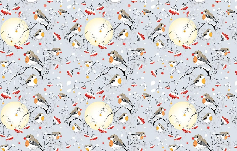 Photo wallpaper winter, snow, Rowan, bullfinches