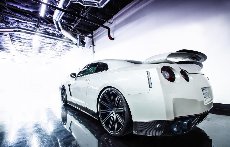 Photo wallpaper GTR, Nissan, Car, White, Sport, Wheels, Rear, Jotech