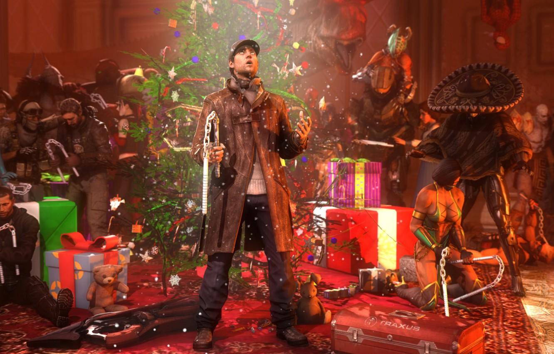 Photo wallpaper holiday, tree, new year, Christmas, gifts, Halo, christmas, mass effect, shepard, crossover, mortal kombat, raiden, …