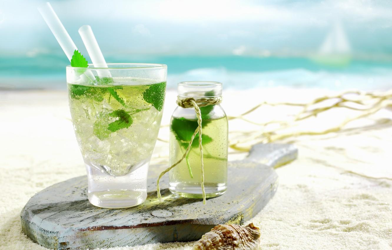 Photo wallpaper ice, sand, beach, the sky, drops, Cup, cocktail, ice, drinks, beach, sky, sand, drops, drinks, …