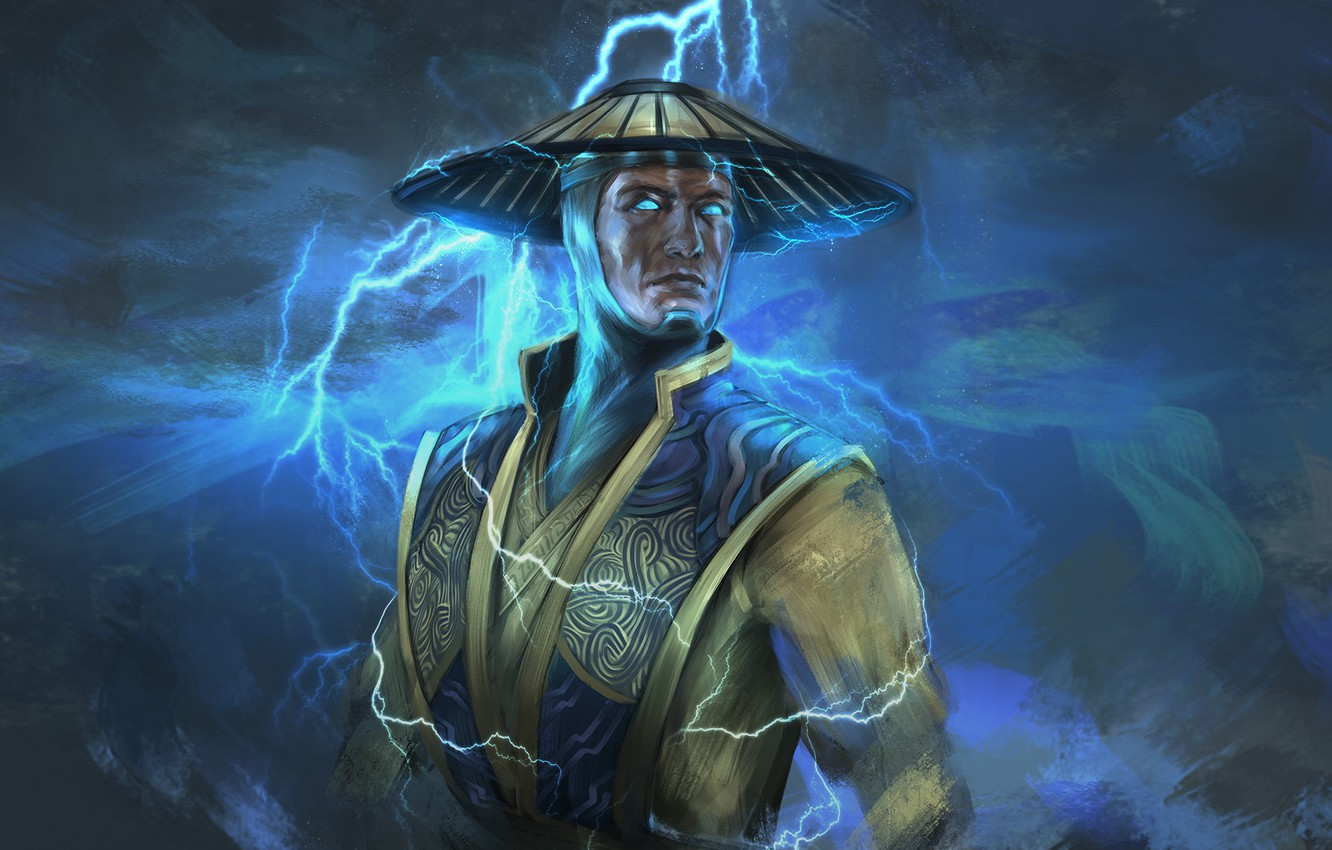 Photo wallpaper lightning, Raiden, god of thunder, Mortal Kombat X, H1fey