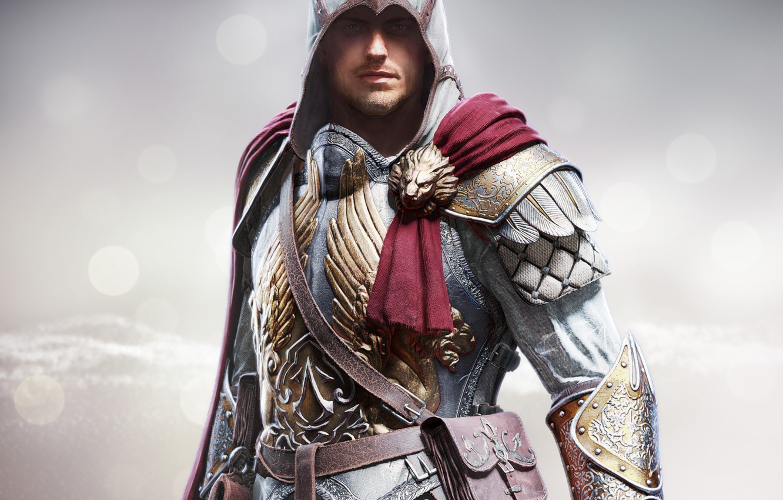 Photo wallpaper look, steel, hood, armor, bag, cloak, bristles, killer, Ubisoft, Berserker, Assassins Creed: Identity