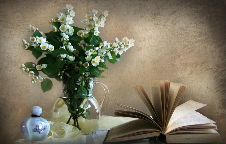 Photo wallpaper wall, perfume, book, vase, Jasmine
