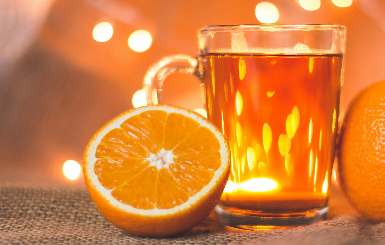 Photo wallpaper glass, orange, background, holiday, tea, new year, food, Christmas, oranges, lights, mug, drink, burlap, bokeh, …