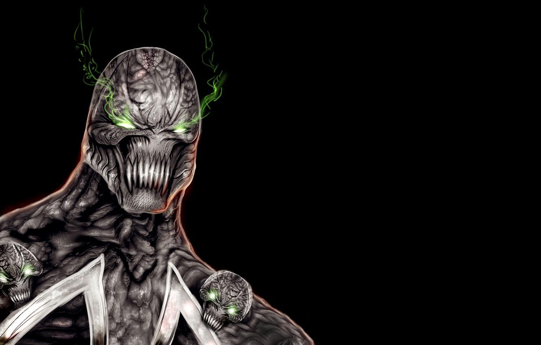 Photo wallpaper the demon, skull, demon, black background, green eyes, Spawn, Spawn