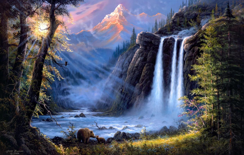 Photo wallpaper forest, landscape, mountains, river, waterfall, bears, art, Jesse Barnes