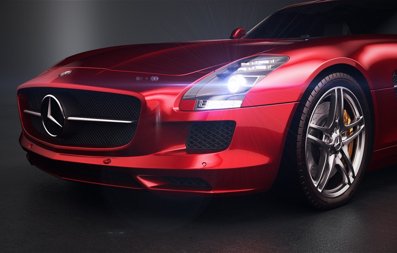 Photo wallpaper red, Mercedes-Benz, headlight, before, red, Photoshop, bumper, SLS, front, Mercedes Benz, Vray, AMG Studio, by …