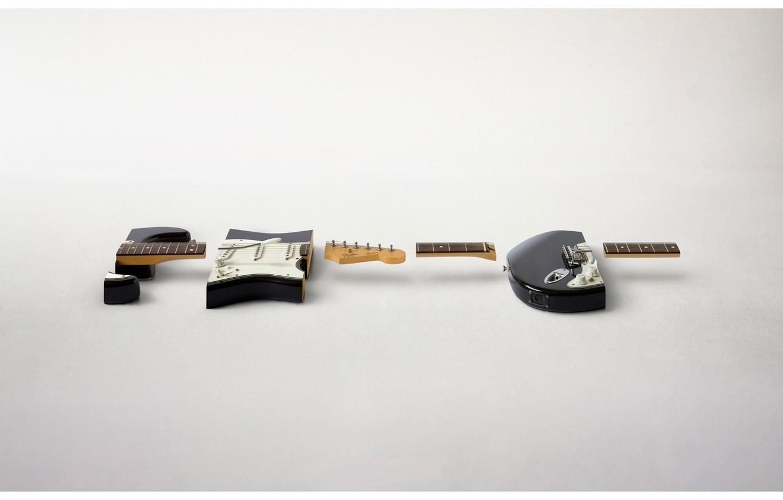 Photo wallpaper guitar, pieces, chopped
