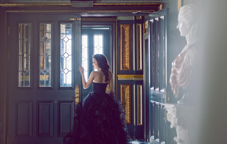 Photo wallpaper back, dress, brunette, corset