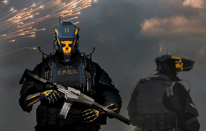 Photo wallpaper fiction, robot, soldiers, machine, cyborg, ammunition