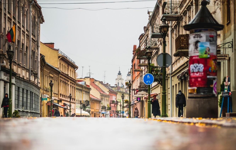 Photo wallpaper road, autumn, the city, people, street, building, home, lights, stores, Lithuania, Lithuania, Kaunas, Kaunas