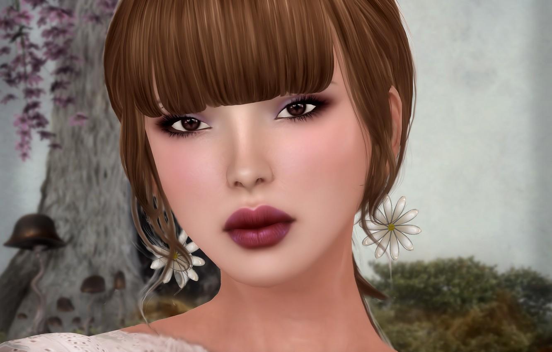 Photo wallpaper girl, flowers, face, chamomile, Sergi, render, bangs
