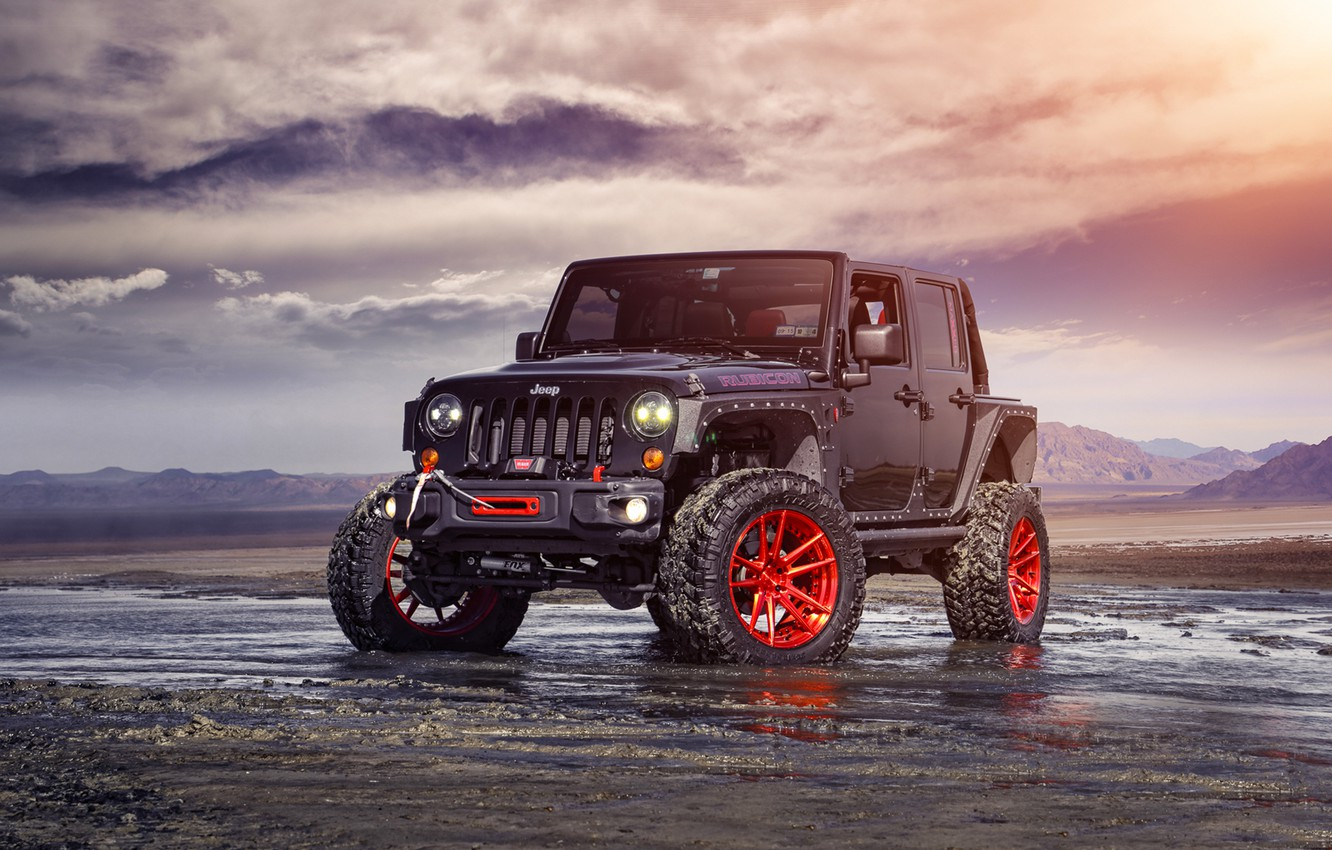 Photo wallpaper Red, Front, Forged, Custom, Wrangler, Jeep, Wheels, Track, ADV1, Function