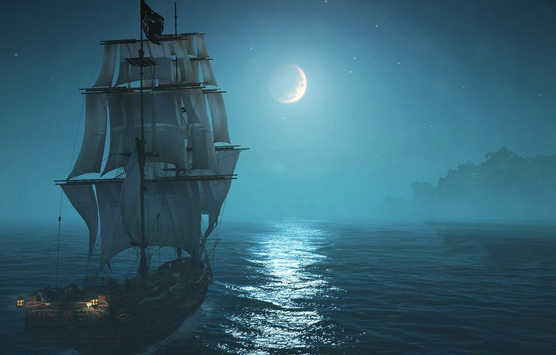 Photo wallpaper sea, the sky, trees, lights, fog, the moon, ship, sailboat