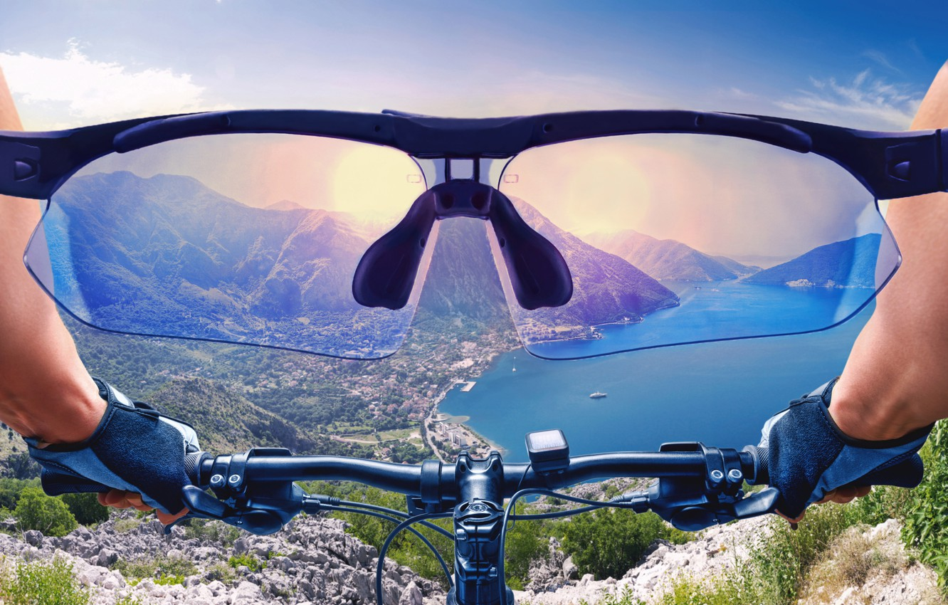 Photo wallpaper look, the sun, mountains, bike, concentration, earth, jump, sport, view, goal, glasses, face, the air, …
