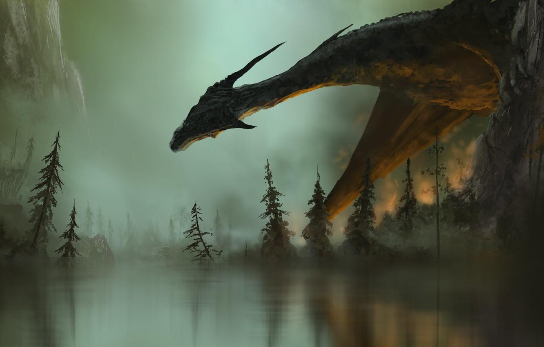 Photo wallpaper fiction, fire, fire, dragon, smoke, wings, art