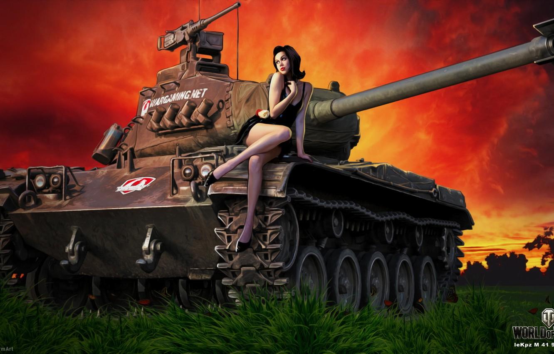 Обои девушка, танк, girl, танки, баян, WoT, Мир танков