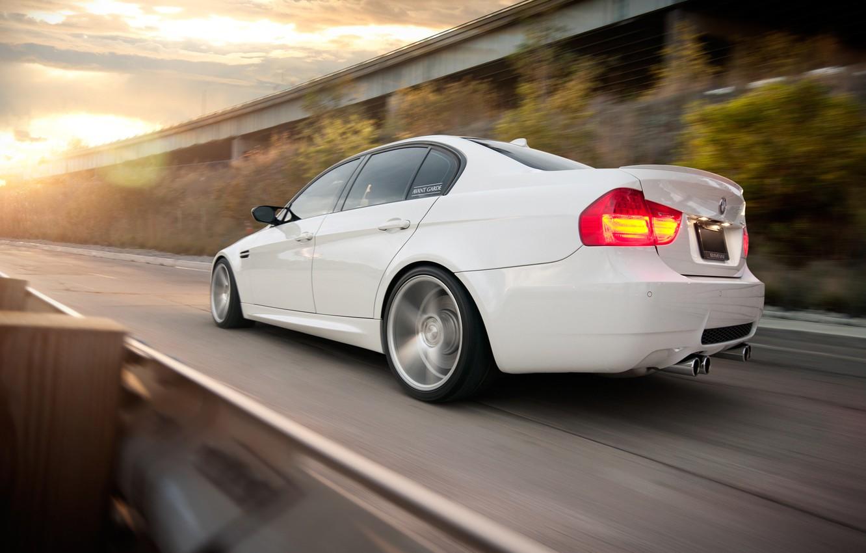 Photo wallpaper BMW, white, sedan, E90