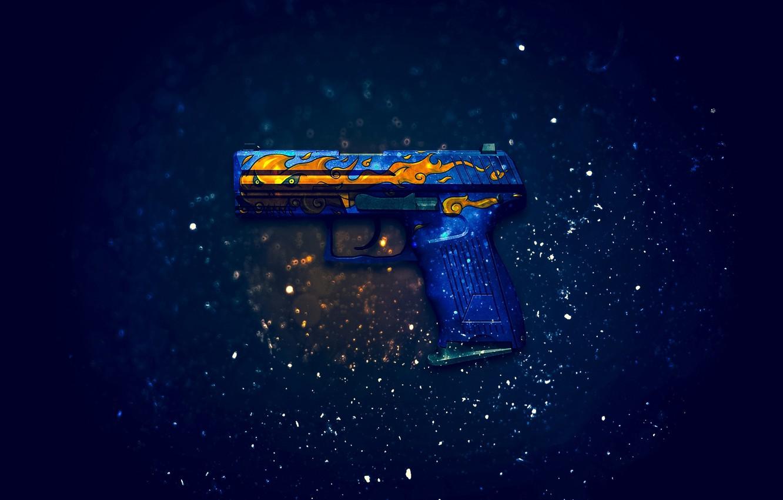 Photo wallpaper Counter-Strike: Global Offensive, CS:GO, fire elemental, P2000, Fire Elemental