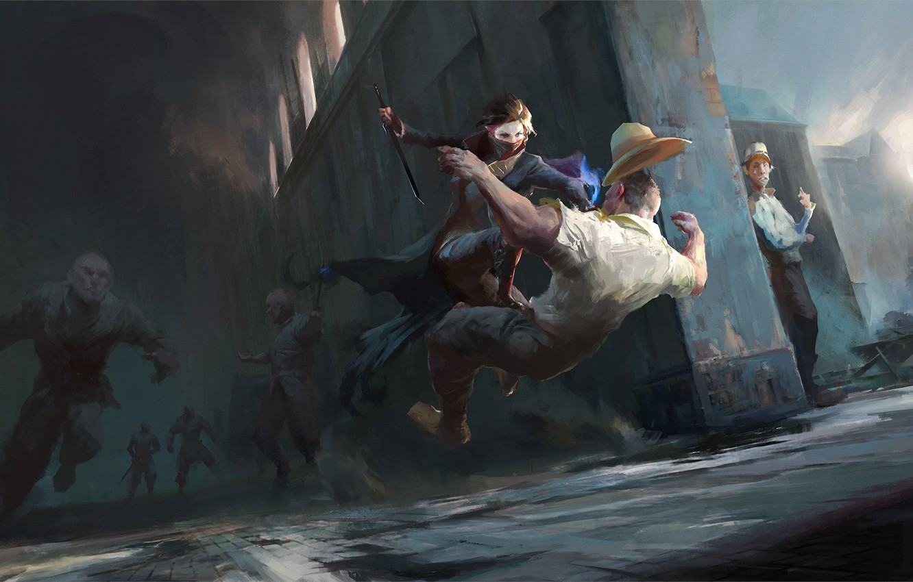 Photo wallpaper girl, the game, art, attack, Emily, Dishonored 2