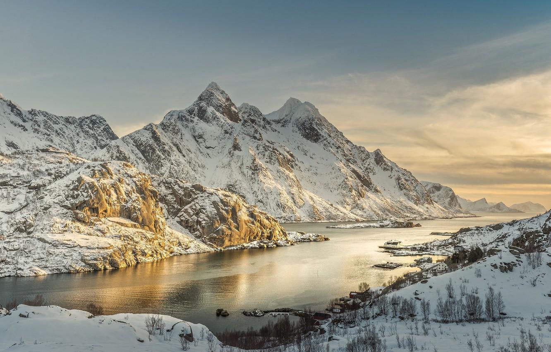 Photo wallpaper sea, the sky, stones, shore, coast, Norway, The Lofoten Islands