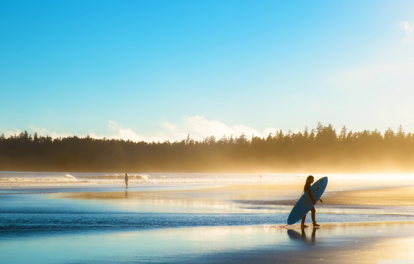 Photo wallpaper waves, girl, forest, sky, trees, sea, landscape, Beach, nature, water, people, sunrise, surf, sports, mist, …
